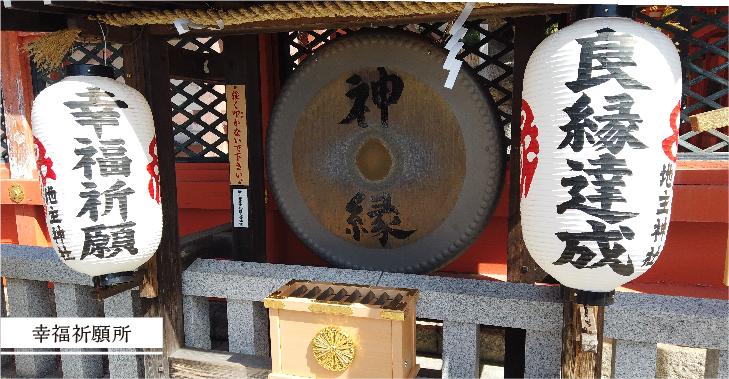地主神社の幸福祈願所の銅羅